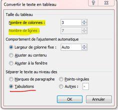 Convertir un texte en tableau et vice versa - Fiche pratique Word, Informatique & Bureautique