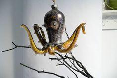 black octopus christmas ornament,year round beauty.   ocean sea