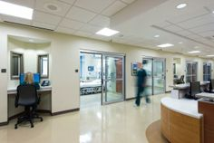 Following evidence-based design best practices for safety and staff fatigue, the ICU has distributed nurses' stations. Photo: Ed LaCasse.