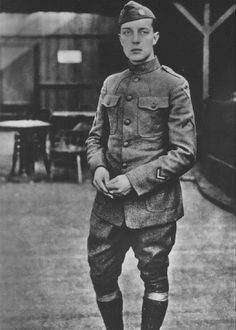 Buster Keaton photographed when he was enlisted into the 40th Infantry Division of the US Army during the Great War.