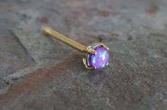 Purple Opal Gold Nose Bone Gold Nose Stud Nose Ring Prong Set