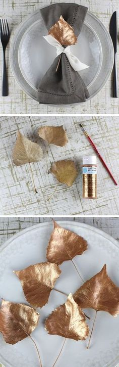 Painted Leaf Place Settings | DIY Thanksgiving Decorations on a Budget | DIY Thanksgiving Table Decorations