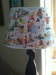 Dick and Jane decopaged lampshade.