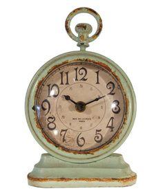 Blue Vintage Table Clock #zulily #zulilyfinds