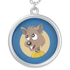 Smiling hyena cartoon personalized necklace