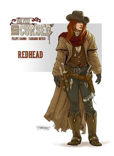 Concept Redhead - The Few and Cursed by FabianoNeves on DeviantArt Female Character Concept, Character Art, Fantasy Warrior, Fantasy Art, Fantasy Characters, Female Characters, Westerns, Armor Clothing, Western Comics