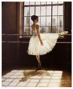 Ballet Dancer at Bar Painting - Learn to dance at BalletForAdults.com!