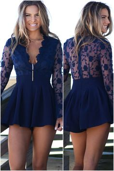 Navy romper with floral lace back. Romper features bell sleeves, a deep v-neckline and a zipper closure at back. Material is polyester Model Ali is 5'9 wearing