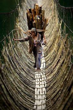 Photo: The Bamboo Cane Bridge in the village Kabua – Republic of the Congo.