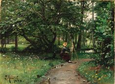 Peder Mørk Mønsted (1859-1941): Painting off a Path Near a River, 1888