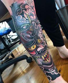 Sick Tattoo, Leg Tattoo Men, Calf Tattoo, Sleeve Tattoos For Women, Tattoo Sleeve Designs, Leg Tattoos, Body Art Tattoos, Tattoos For Guys, Japanese Leg Tattoo