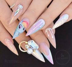 Drippy pastel nails