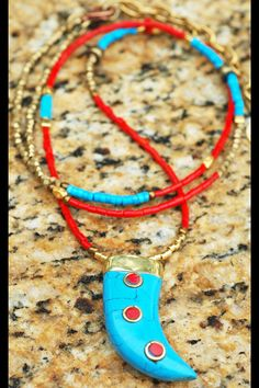 Red Glass, Turquoise and Gold Tibetan Horn Pendant Long Boho Tribal Necklace Red Jewelry, Beaded Jewelry, Beaded Bracelets, Unique Jewelry, Jewelry Ideas, Tribal Necklace, Pendant Necklace, Tibetan Jewelry, Custom Jewelry Design