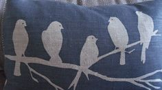 Hand printed midnight blues bird on a branch by helkatdesign