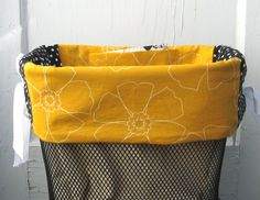 Mustard & White Flowers Bicycle Basket Liner