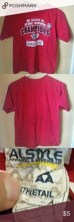 Boys 2012 Alabama Ntl Championship shirt 100%cotton. Machine wash warm, tumble dry low. #rolltidesizelargekids Alstyle Shirts & Tops Tees - Short Sleeve