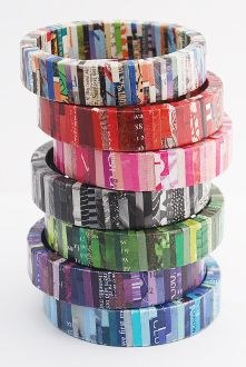 Recycled magazine Bangle Bracelets