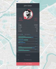 Here is the driver profile overview from a vehicle tracking system and custom styled google map. Follow me @ http://dribbble.com/stuffactory