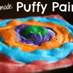 If you're looking for a quick and easy art activity to do with your kids, this one is fabulous.  Not only is it an art activity, it's a bit of a science activity as well!All you need are 3 ingredients to make this awesome homemade puffy paint!  It's fun to paint and create with, and the best part?  ...you just put it in the microwave, and it puffs right up!  SO cool!  Have a look!