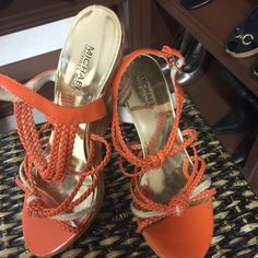 Beautiful Michael Kors wedges beautiful Michael Kors orange and tan wedgesabsolutely beautiful condition MICHAEL Michael Kors Shoes Wedges