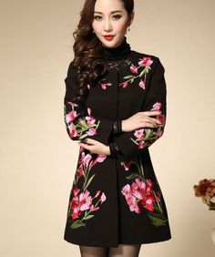 Womens Floral Embroider Coats Long Jackets Slim Wool Blend Outwear Parka Fashion