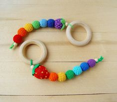Organic wooden teether Baby teething ring Grasping by NittoMiton