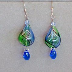 Blue and Green Blown Glass Earrings on Sterling by mommysmoon, $15.00