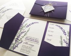 Lavender Wedding Invitation Sample Purple Pocketfold Tags