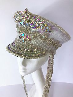 716024fac1518 Irridescent White Sequin + Silver AB Diamante Crystal Festival Military  Captains Marching Band Hat  Cap. Burning Man Mardi Gras Costume