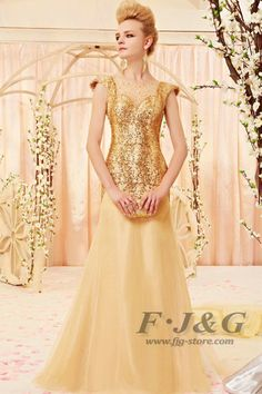 2013 New Gold Cap Sleeves Beaded Evening Dress 30398