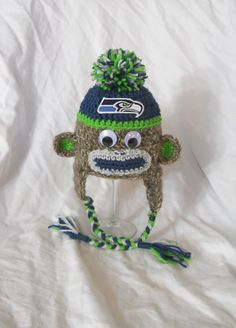 Seattle Seahawks Football Inspired Crochet Baby Sock by CDBSTUDIO, $32.99