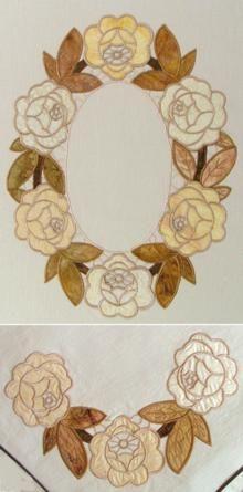 Rose Wreath and Corner Applique Set