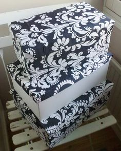 Shoe boxes covered with fabric