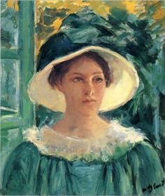 """Young Woman in Green, Outdoors in the Sun"" (circa 1914), by American artist - Mary Cassatt (1844-1926), Oil on canvas, 54.93 x 46.04 cm. (21.63 x 18.13 in.), Worcester Art Museum - Worcester, Massachusetts, USA."