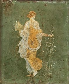 Flora Ancient Roman fresco from Pompeii. 1st Century AD, currently located at the National Archaeological Museum, Pompeii.