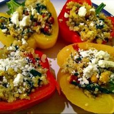 Meatless Mediterranean Stuffed Peppers - onion, tomatoes, quinoa, olives, chickpeas, spinach, feta
