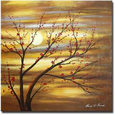 White Walls Hand Painted 'Red Bud Rhythm' Canvas Art | Wayfair