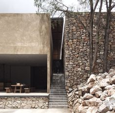 Contrasting stone and rendered walls Staircase entering chasm between building sections rancho puebla / equestrian ranch Detail Architecture, Interior Architecture, Natural Architecture, Architecture Plan, Contemporary Architecture, Exterior Design, Interior And Exterior, Facade Design, Stone Facade