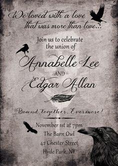 Edgar Allen Poe Raven Wedding Invitation And RSVP Card
