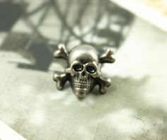 Skull Cross Bones Metal Buttons , Nickel Silver Color , Shank , 0.55 inch , 10 pcs by Lyanwood, $6.00