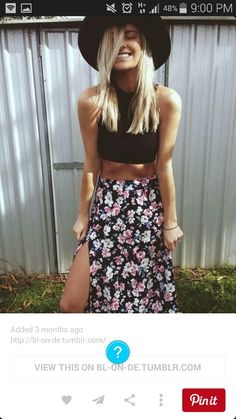 Loving this floral skirtwith a split