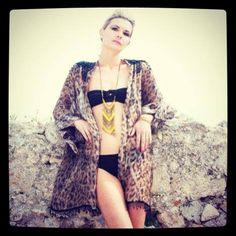 Leopard print and beaded Dita Kimono by coco riko Ibiza Fashion, Luxury Fashion, Womens Fashion, Kimono Top, Street Style, Lady, Holiday, Summer, Tops