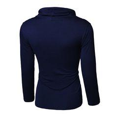 Mens Fashion Style Long Sleeved T-shirt Casual Button Slim Tether Tops Tees at Banggood