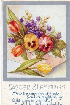 Vintage Easter Blessings Postcard  Pansies by sharonfostervintage, $1.00