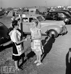 Witnessing in the 50s, looks like maybe Yankee Stadium tent city?