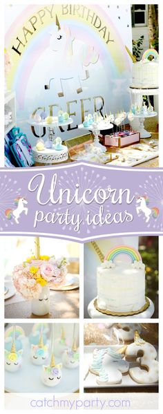 Blown Away Events's Birthday / Unicorns and Rainbows - Greer's Unicorn Party at Catch My Party Rainbow Unicorn Party, Unicorn Themed Birthday Party, Rainbow Birthday, Unicorn Birthday Parties, Birthday Party Themes, 4th Birthday, Birthday Ideas, Lila Party, Unicorn Cake Pops