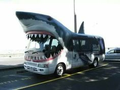 Tour bus as a shark - Could vinyl wrap bus to look like pills characters Shark Bait, Great White Shark, Environmental Graphics, Shark Week, Commercial Vehicle, Car Wrap, Tall Ships, Land Rover Defender, New Zealand