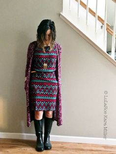 Oversized LuLaroe Julia dress with Sarah long cardigan,  Spunky Soul necklace and rain boots for spring fashion trends and style inspiration .  Shop here: https://www.facebook.com/groups/LularoeKaraMiller/