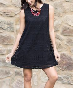 This Black Crochet Shift Dress by Pinkblush is perfect! #zulilyfinds