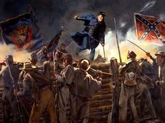 Medal of Honor by Don Troiani: Captain Gould vaulting into the Confederate trenches, Petersburg, Virginia, April 1865 Canadian History, Us History, American History, History Photos, Civil War Flags, Civil War Art, Civil War Photos, Historical Art, Military Art